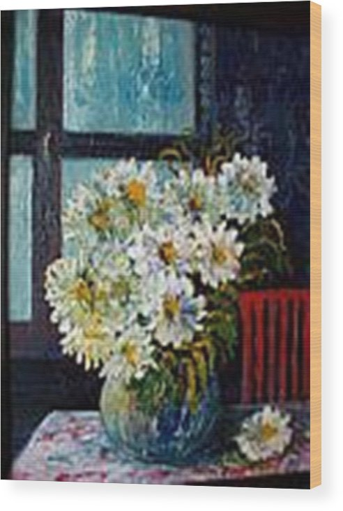 By The Window Wood Print featuring the painting At Home by Carol P Kingsley