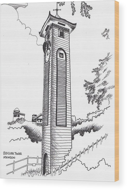 Clock Wood Print featuring the drawing Atkinson Clock Tower by Ramiliano Guerra