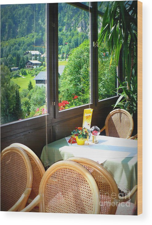 Austria Wood Print featuring the photograph Austrian Cafe by Carol Groenen