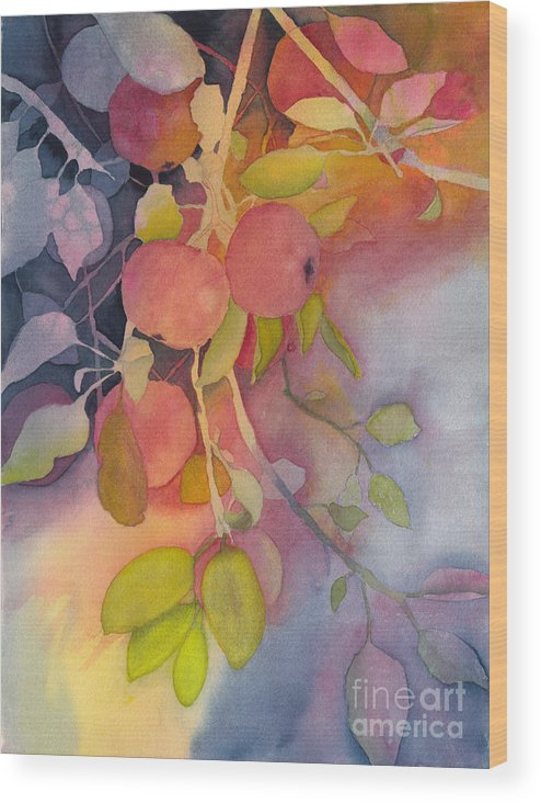 Apples Wood Print featuring the painting Autumn Apples Full Painting by Conni Schaftenaar