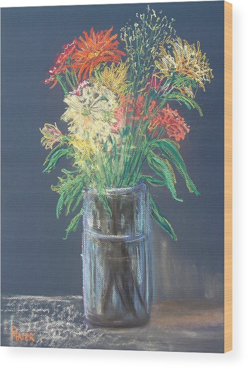 Stilllife Wood Print featuring the pastel Autumn Bouquet by Pete Maier