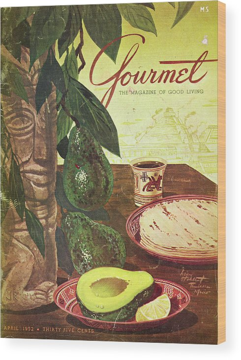 Food Wood Print featuring the photograph Avocado And Tortillas by Henry Stahlhut