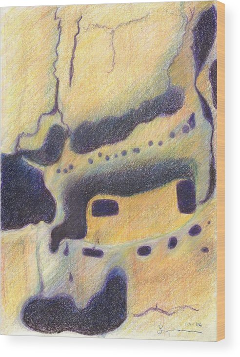 Bandelier National Monument Wood Print featuring the drawing Bandelier I by Harriet Emerson