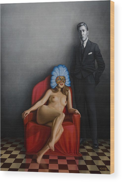 Nude Wood Print featuring the painting Beauty Of The Carnival by Horacio Cardozo