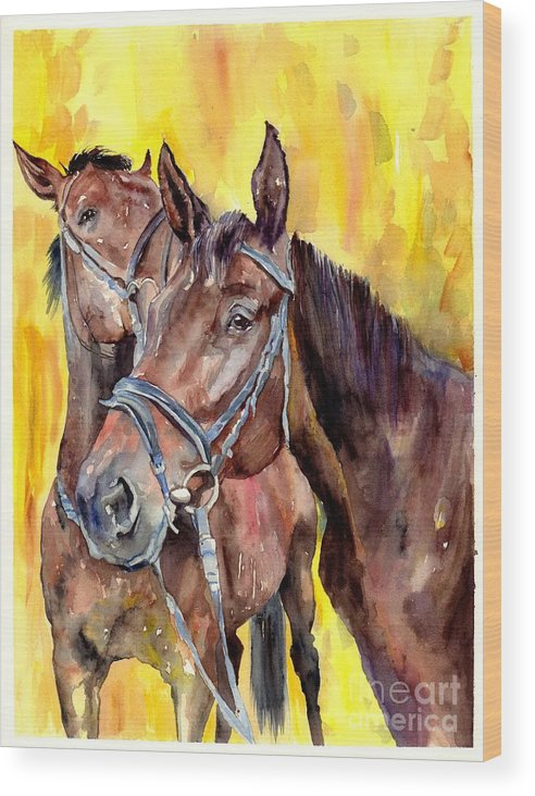 Horse Wood Print featuring the painting Before The Race by Suzann Sines