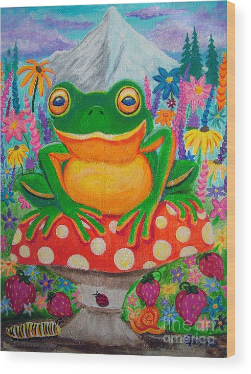 Frog Wood Print featuring the painting Big Green Frog On Red Mushroom by Nick Gustafson