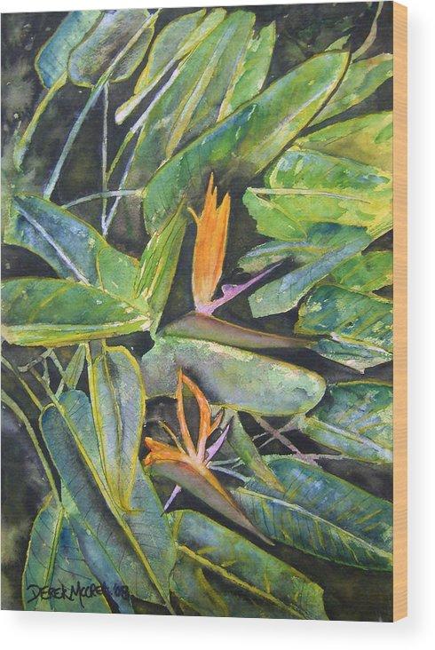 Flower Wood Print featuring the painting Bird Of Paradise 2 by Derek Mccrea