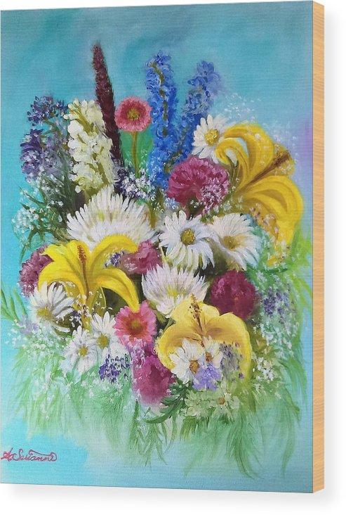 Flowers Wood Print featuring the painting Birthday Bouquet by Ann Serianni