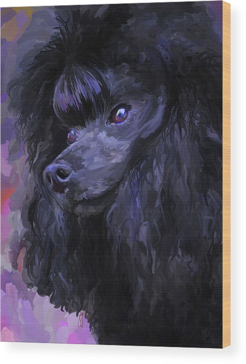Black Wood Print featuring the painting Black Poodle by Jai Johnson
