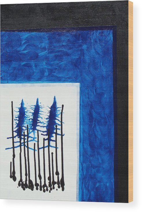 Abstract Wood Print featuring the painting Blue II by Ofelia Uz