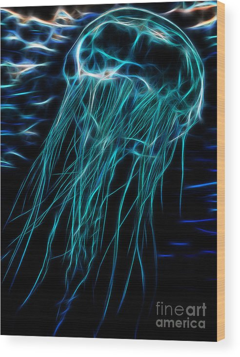 Jellyfish Wood Print featuring the digital art Blue Miracle by Drazen Kirchmayer