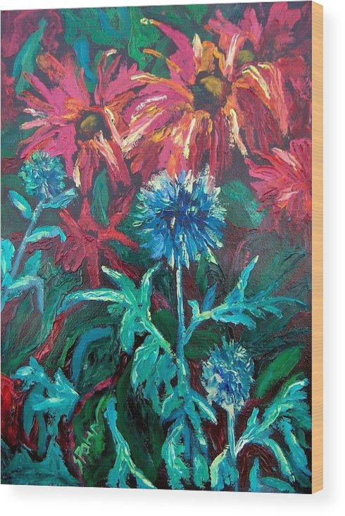 Red Wood Print featuring the painting Blue Thistle And Bee Balm by Susan Spohn
