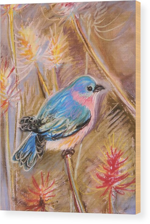Blue Bird Wood Print featuring the pastel Bluebird by Emily Michaud