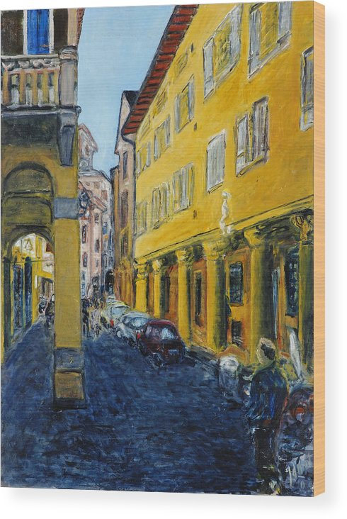 Cityscape Italy Bologna Cars Yellow Houses Man Columns Wood Print featuring the painting Bologna Galeria by Joan De Bot