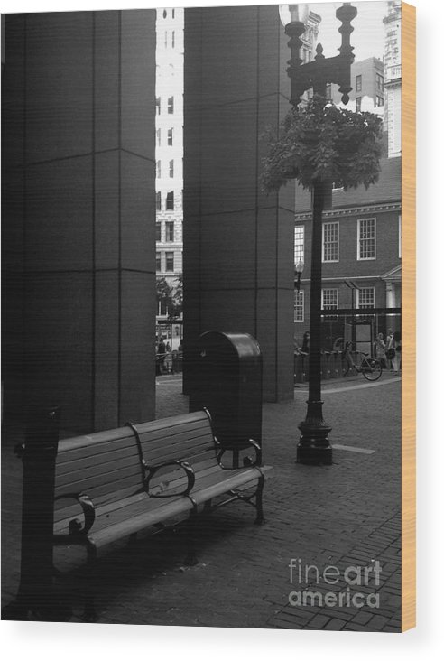 Black And White Wood Print featuring the photograph Boston Park Bench And Lantern by Gina Sullivan
