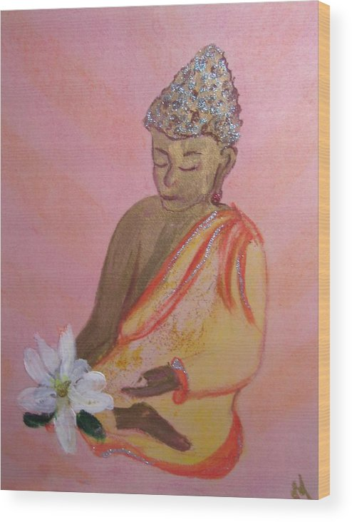 Buddha Wood Print featuring the painting Buddha And The Lotus Blossom by Michela Akers
