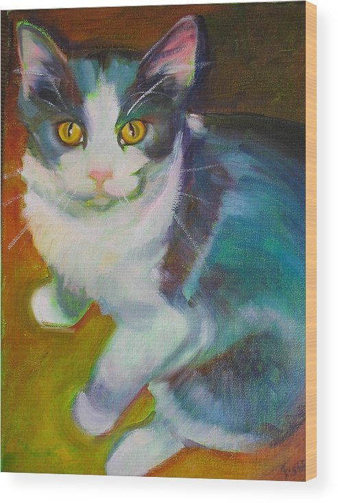 Pet Wood Print featuring the painting Buddy The Cat by Kaytee Esser