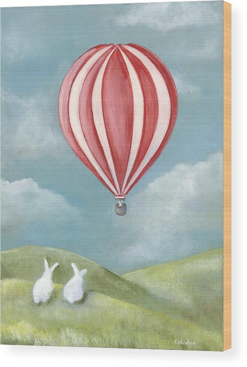 Bunny Wood Print featuring the painting Bun Voyage by Kimberly Hodge