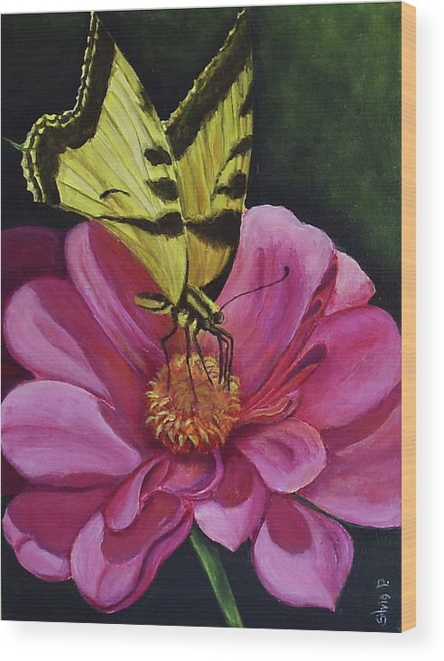 Flower Wood Print featuring the painting Butterfly On A Pink Daisy by Silvia Philippsohn
