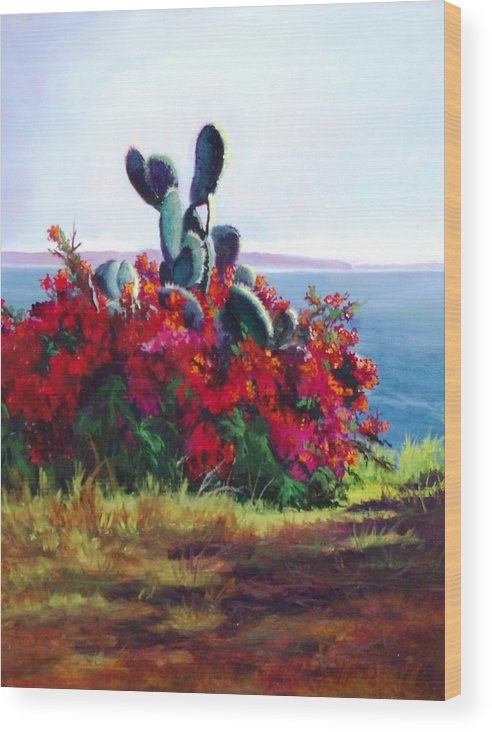 Flower Wood Print featuring the painting Cactus And Bougainvillea by Dorothy Nalls