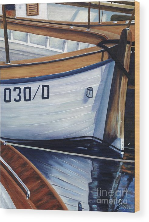 Nautical Wood Print featuring the painting Capri Boats by Danielle Perry