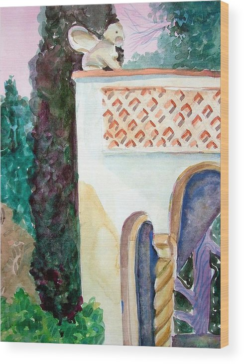 Capri Wood Print featuring the painting Capri Sphinx by Mindy Newman