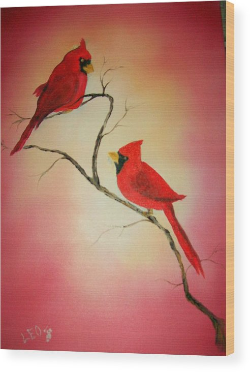Cardinals Wood Print featuring the painting Cardinals At Sunset by Leo Gordon