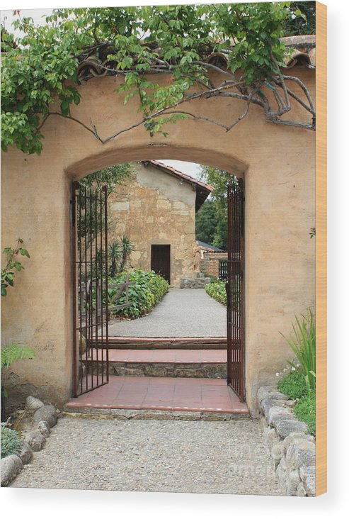 Carmel Mission Wood Print featuring the photograph Carmel Mission Path by Carol Groenen