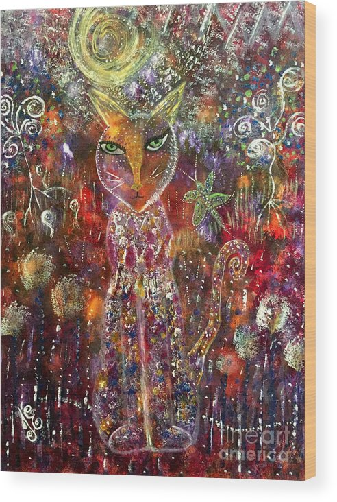 Cat Wood Print featuring the painting Cat Magic by Julie Engelhardt