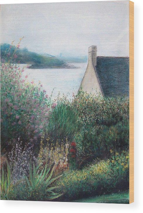 Landscape Wood Print featuring the painting Chausey by Muriel Dolemieux