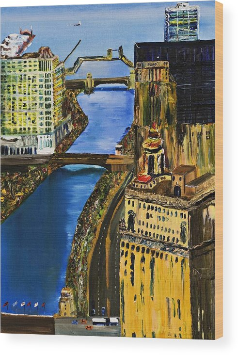 Chicago Skyline Wood Print featuring the painting Chicago River Skyline by Gregory Allen Page