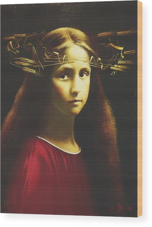 Portrait Wood Print featuring the painting Childhood Of Maria by Andrej Vystropov