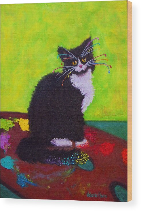 Cat Wood Print featuring the painting Ching - The Studio Cat by Valerie Aune