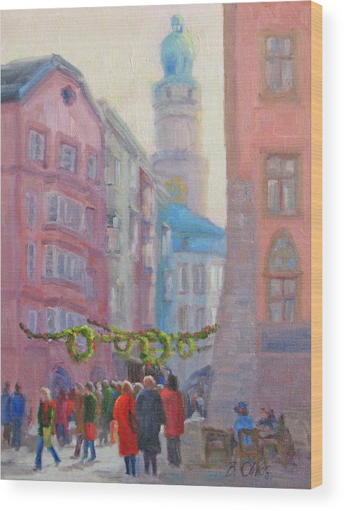 Street Scene Wood Print featuring the painting Christmas Shopping - Innsbruck by Bunny Oliver