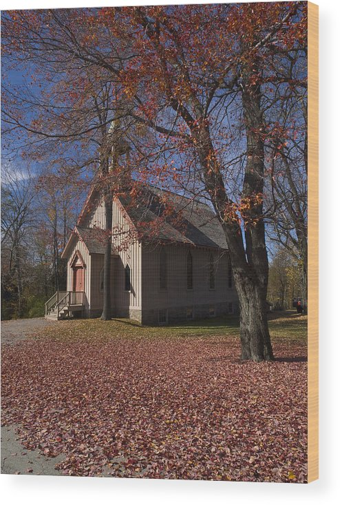 Nature; United States; Fall Foliage; Luzerne County; Historic Structure; Eckley Village; Church Wood Print featuring the photograph Church And Fall Foliage In Eckley Village by Bob Hahn