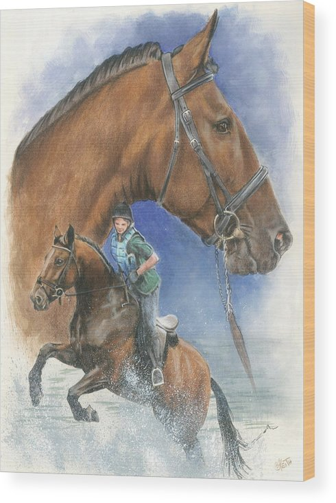 Hunter Jumper Wood Print featuring the mixed media Cleveland Bay by Barbara Keith