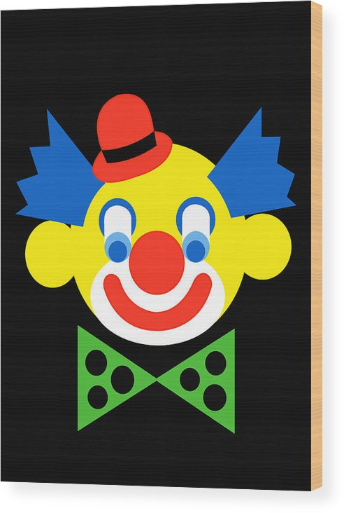 Clown Wood Print featuring the digital art Clown by Asbjorn Lonvig