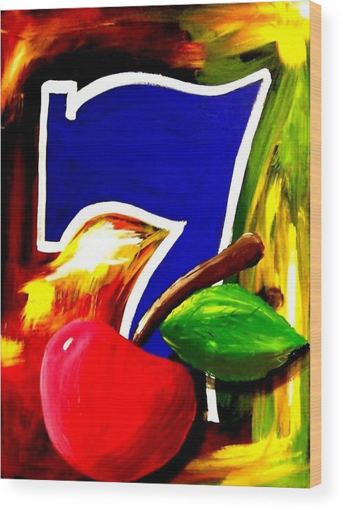 Slot Machine Wood Print featuring the painting Colorful Lucky Seven Slot Machine Casino Decor With Cherry by Teo Alfonso