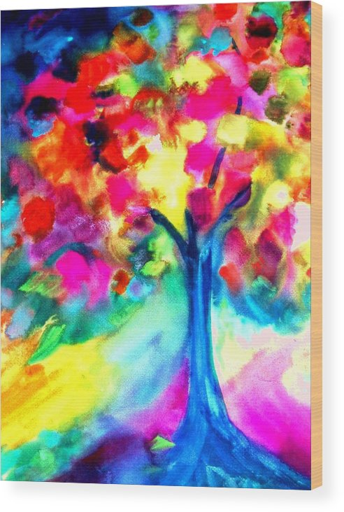 Landscape Wood Print featuring the painting Colorful Tree by Maritza Bermudez