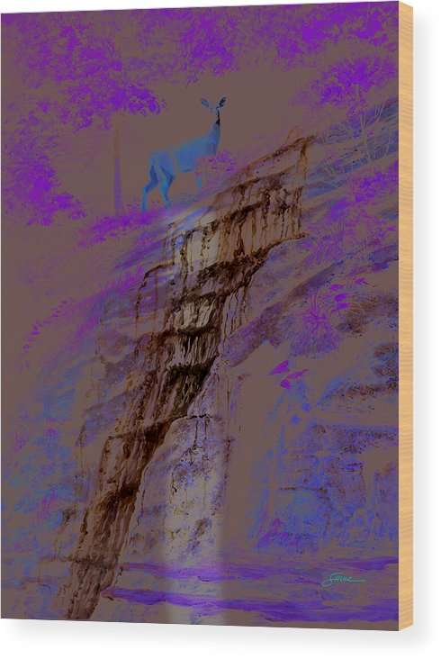 Landscape Wood Print featuring the painting Cool Cascade by Harold Shull