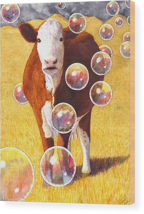 Cow Wood Print featuring the painting Cow Bubbles by Catherine G McElroy