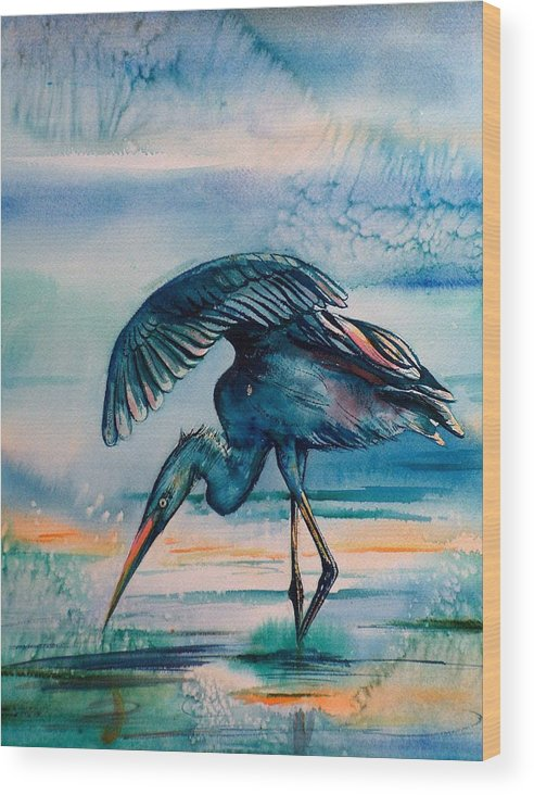 Wood Print featuring the painting Crane by Sylvia Stone