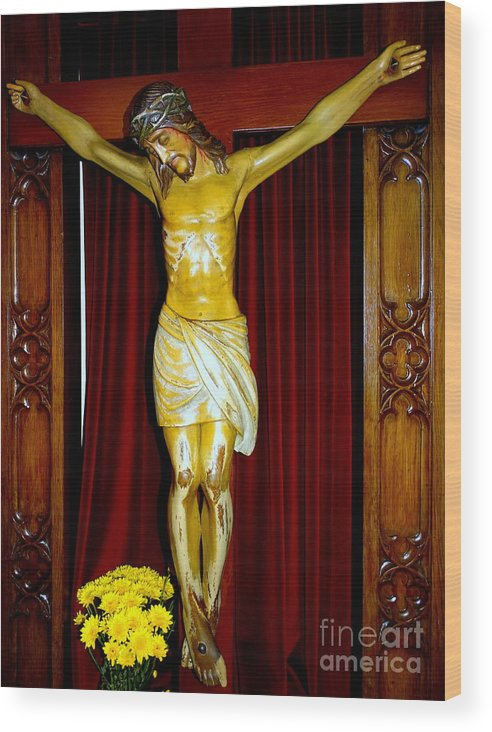 Jesus Christ Wood Print featuring the photograph Curtains And Cross by Ed Weidman