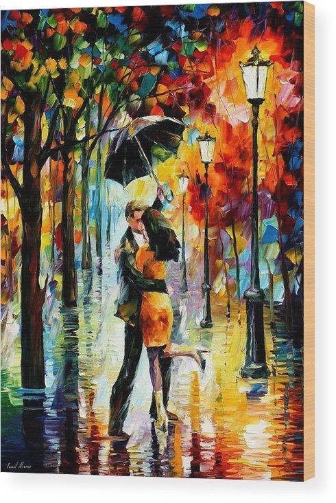 Afremov Wood Print featuring the painting Dance Under The Rain by Leonid Afremov