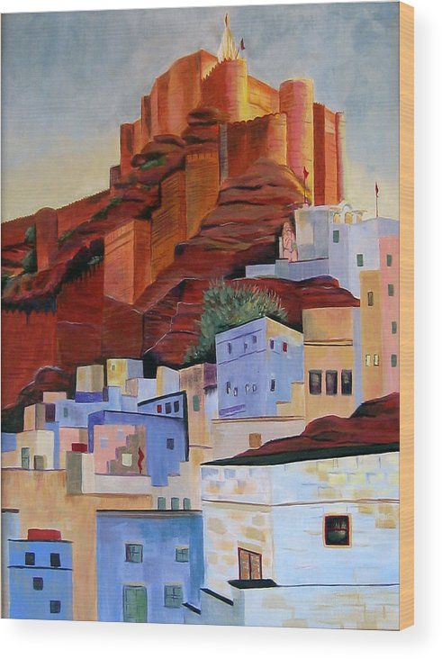 Landscape Wood Print featuring the painting Dawn At The Fort In Jodhpur by Art Nomad Sandra Hansen