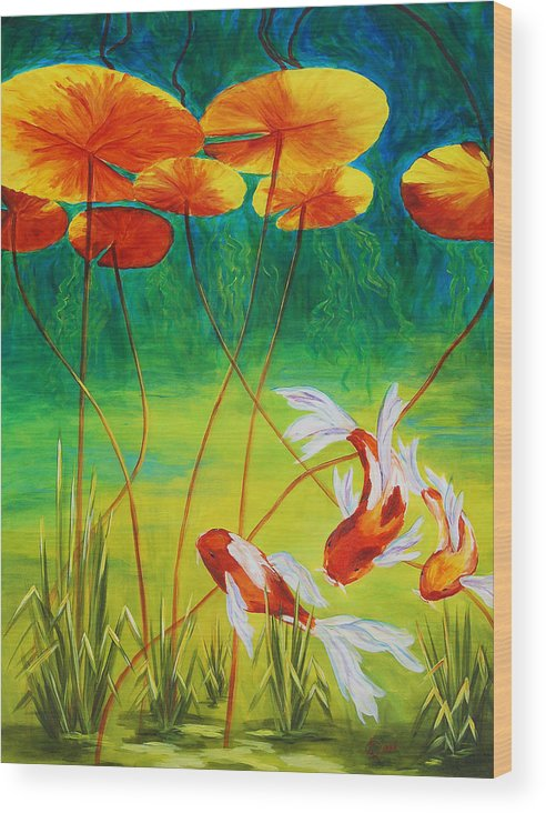 Koi Wood Print featuring the painting Day Dreamin by Karen Dukes