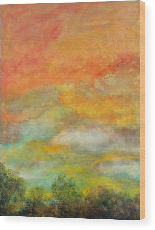 Landscape Wood Print featuring the painting Delight by Marie Baehr