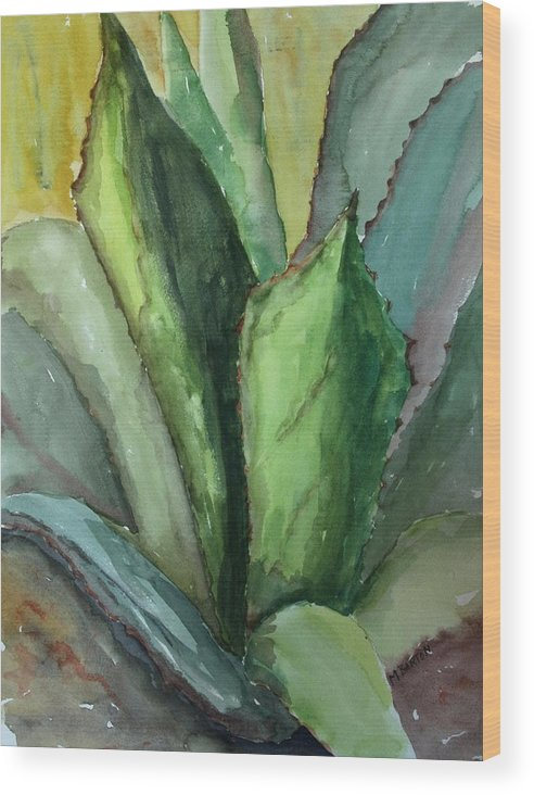 Cactus Wood Print featuring the painting Desert Agave by Marilyn Barton