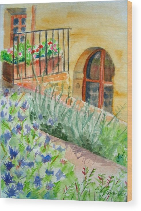 Flowers Surrounding Apartment On Vineyard Wood Print featuring the painting Dievole Vineyard by Judy Swerlick