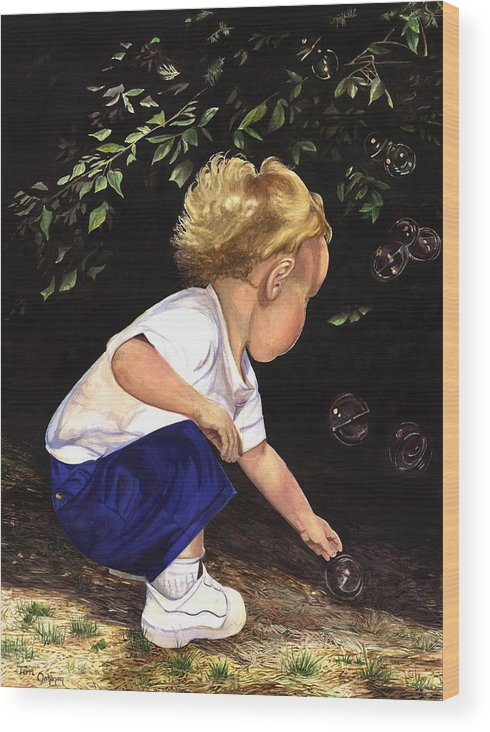 Portrait Wood Print featuring the painting Discovering Bubbles by Terri Meyer